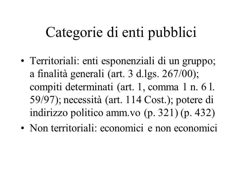 Categorie di enti pubblici