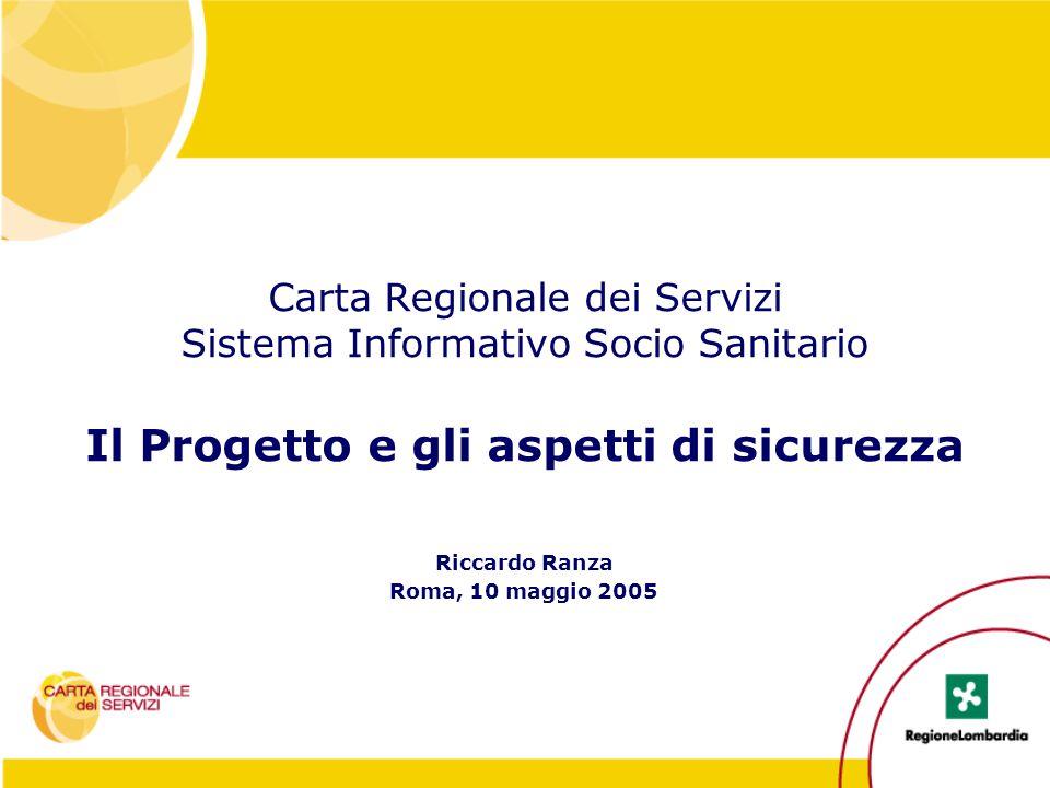 Carta Regionale dei Servizi Sistema Informativo Socio Sanitario Il Progetto e gli aspetti di sicurezza