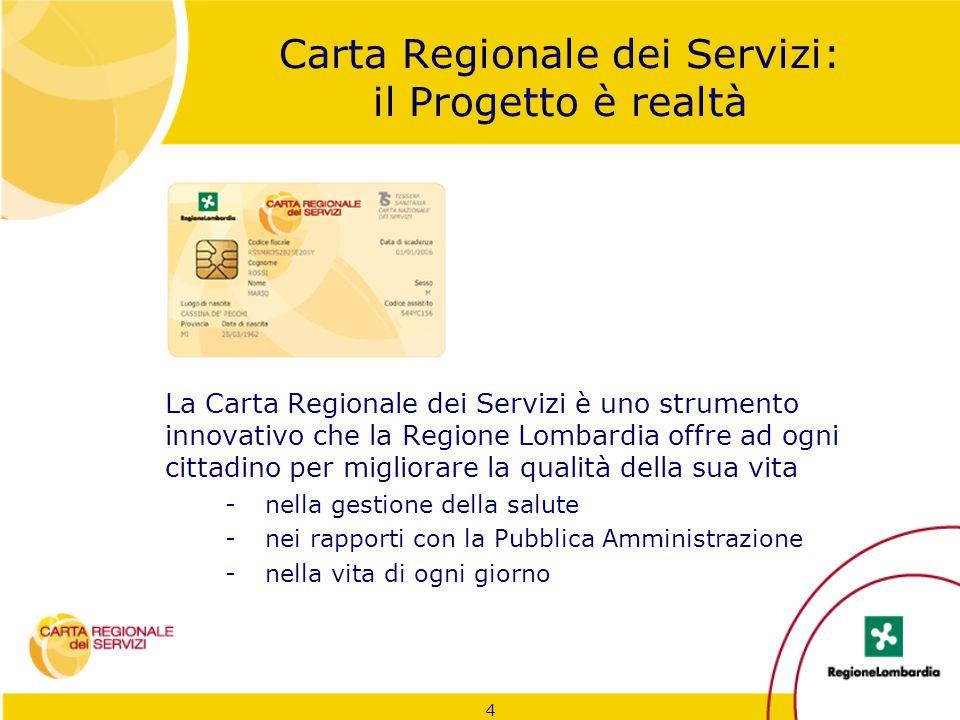 Carta Regionale dei Servizi: il Progetto è realtà