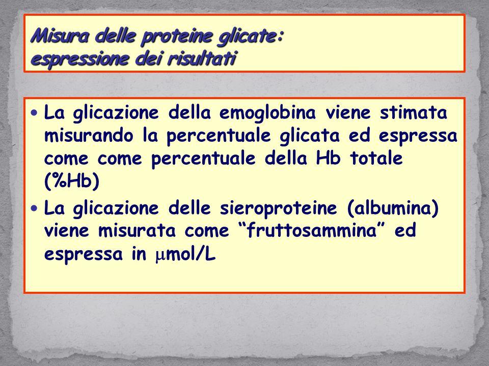 Misura delle proteine glicate: espressione dei risultati