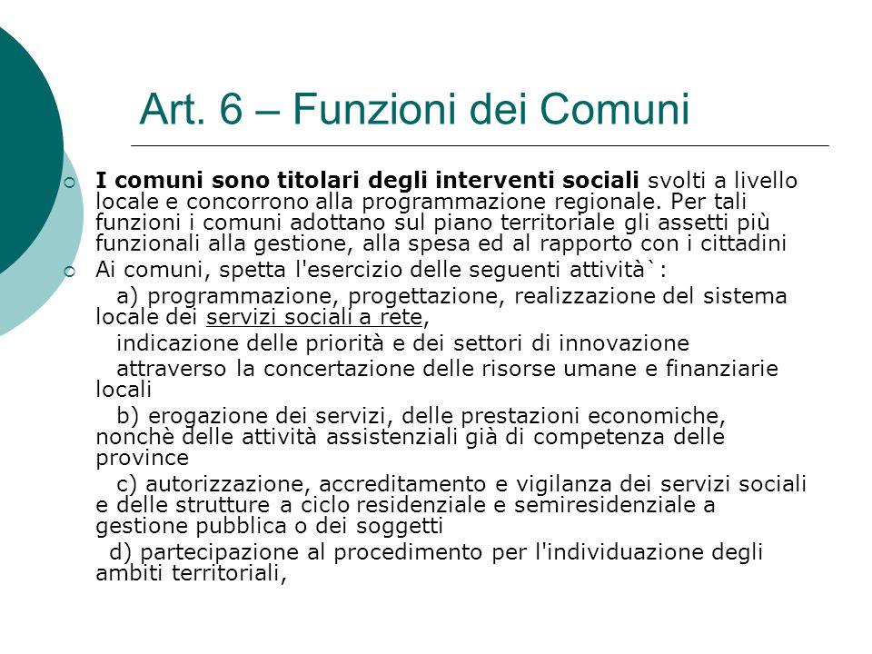 Art. 6 – Funzioni dei Comuni
