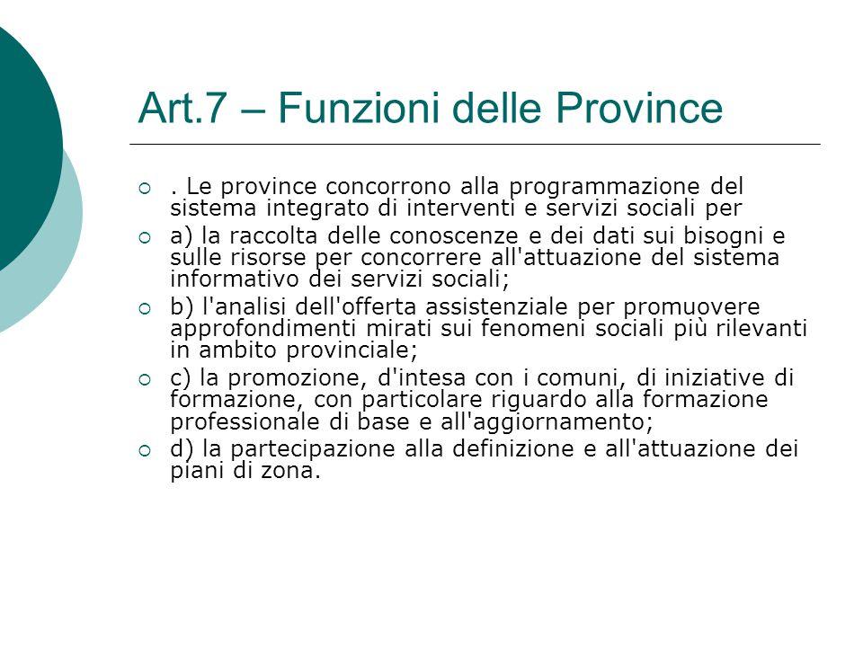 Art.7 – Funzioni delle Province