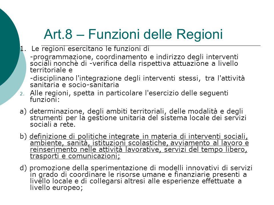 Art.8 – Funzioni delle Regioni