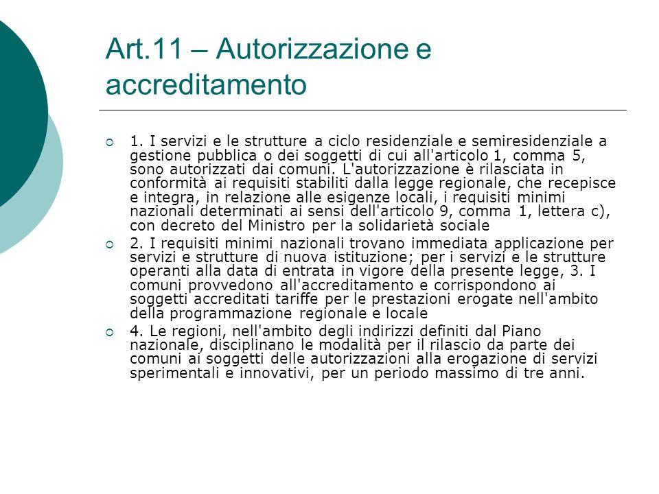 Art.11 – Autorizzazione e accreditamento