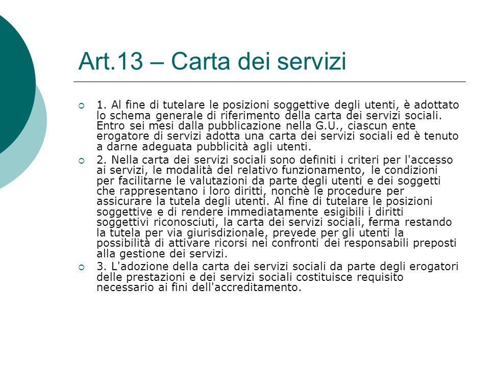 Art.13 – Carta dei servizi