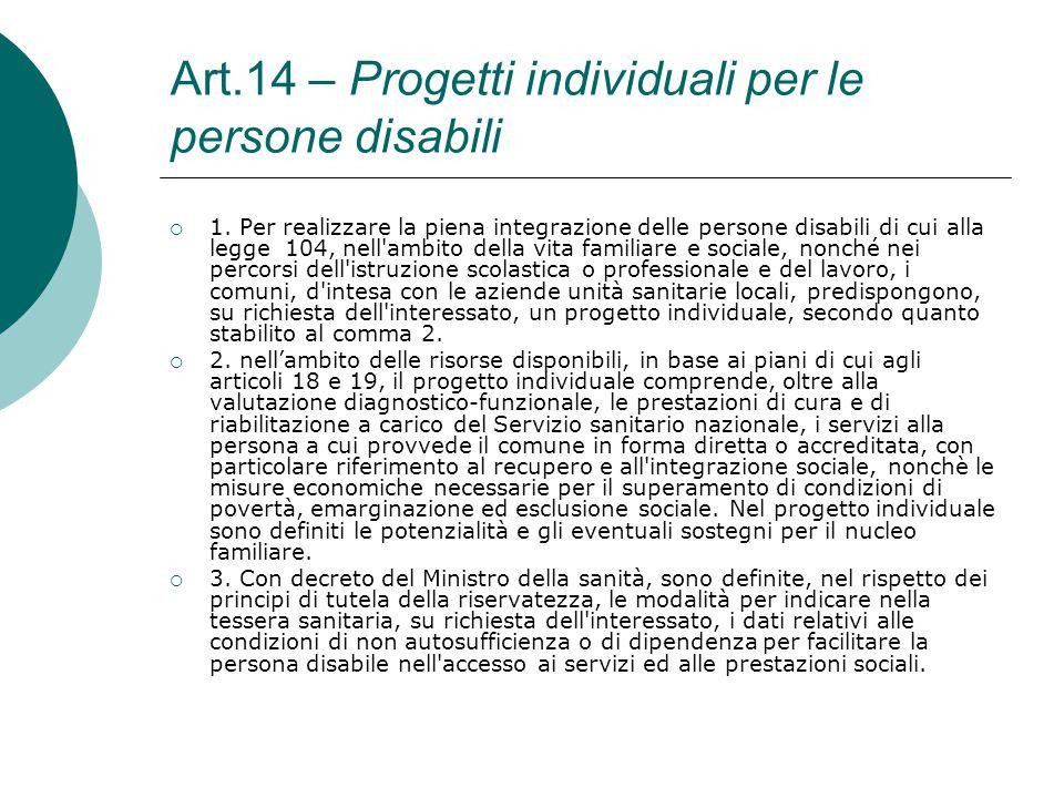 Art.14 – Progetti individuali per le persone disabili