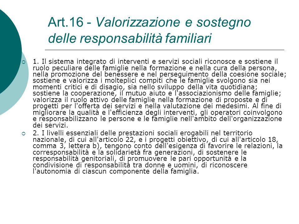 Art.16 - Valorizzazione e sostegno delle responsabilità familiari