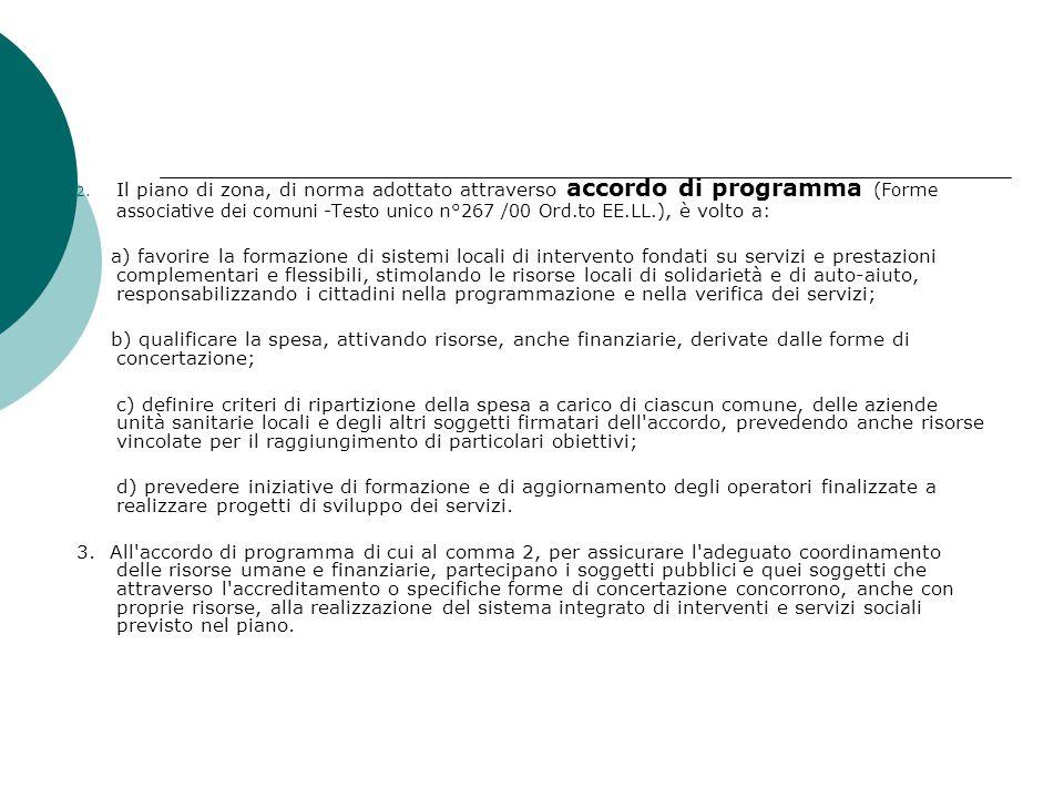 Il piano di zona, di norma adottato attraverso accordo di programma (Forme associative dei comuni -Testo unico n°267 /00 Ord.to EE.LL.), è volto a: