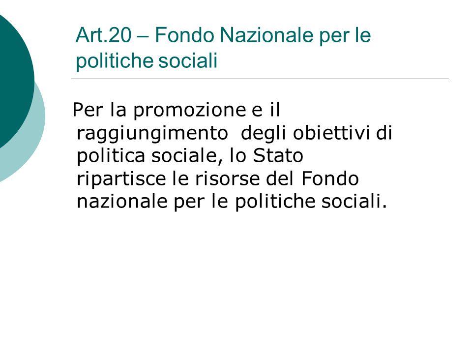 Art.20 – Fondo Nazionale per le politiche sociali