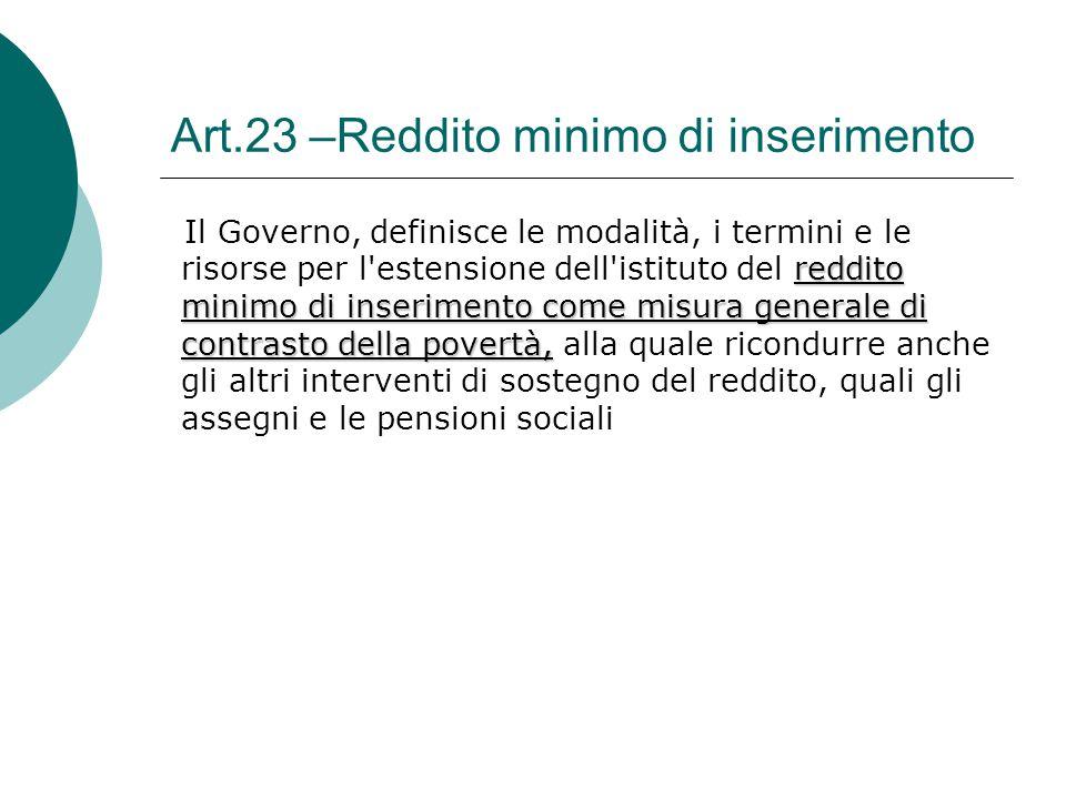 Art.23 –Reddito minimo di inserimento