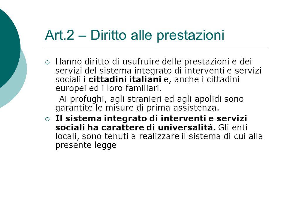 Art.2 – Diritto alle prestazioni