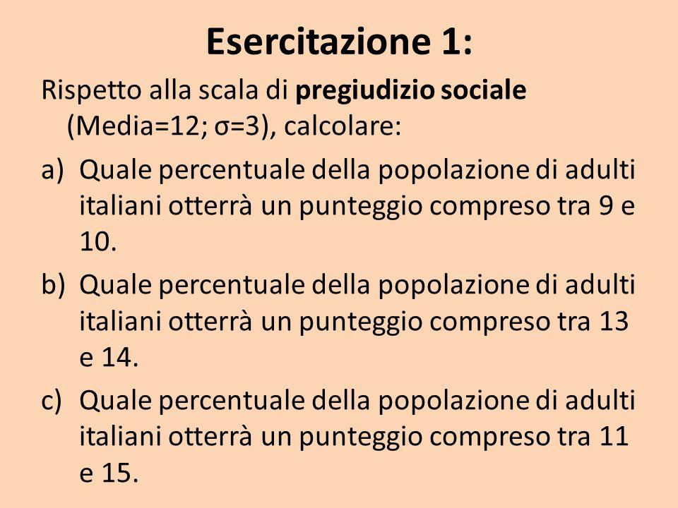 Esercitazione 1: Rispetto alla scala di pregiudizio sociale (Media=12; σ=3), calcolare: