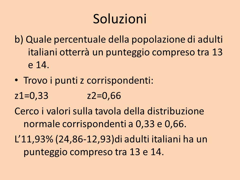Soluzioni b) Quale percentuale della popolazione di adulti italiani otterrà un punteggio compreso tra 13 e 14.
