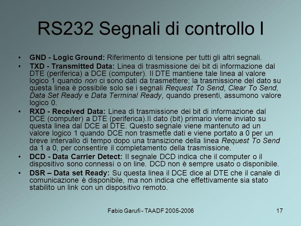 RS232 Segnali di controllo I