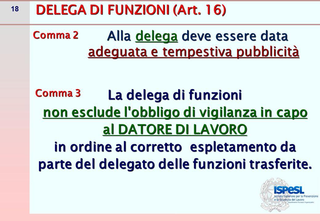 DELEGA DI FUNZIONI Comma 3 bis
