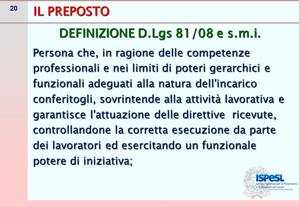 OBBLIGHI DEL PREPOSTO (Art. 19)