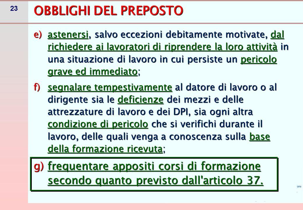 FORMAZIONE DEL PREPOSTO-CONTENUTI (Art. 37)