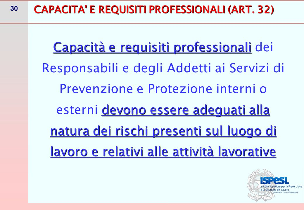 CAPACITA E REQUISITI PROFESSIONALI (ART. 32)