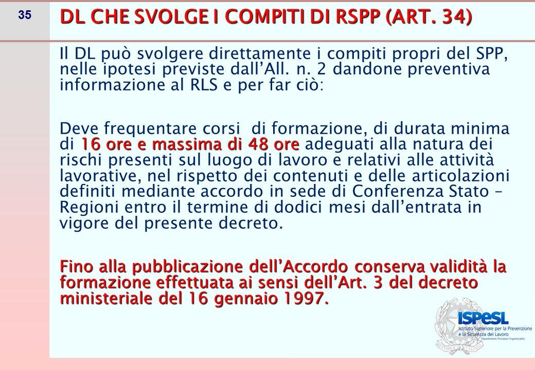 DL CHE SVOLGE I COMPITI DI PRIMO SOCCORSO, PREVENZIONE INCENDI, EVACUAZIONE (ART. 34)