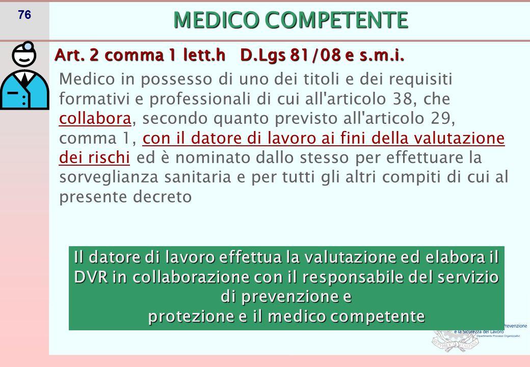 MEDICO COMPETENTE- Art. 38