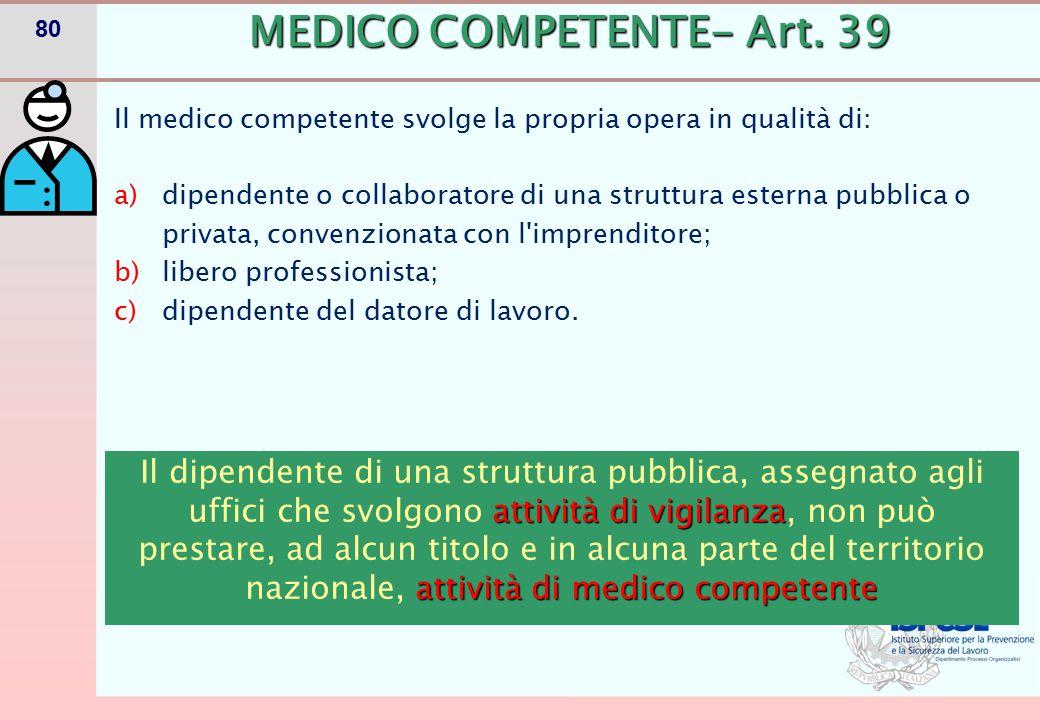 MEDICO COMPETENTE- Art. 39