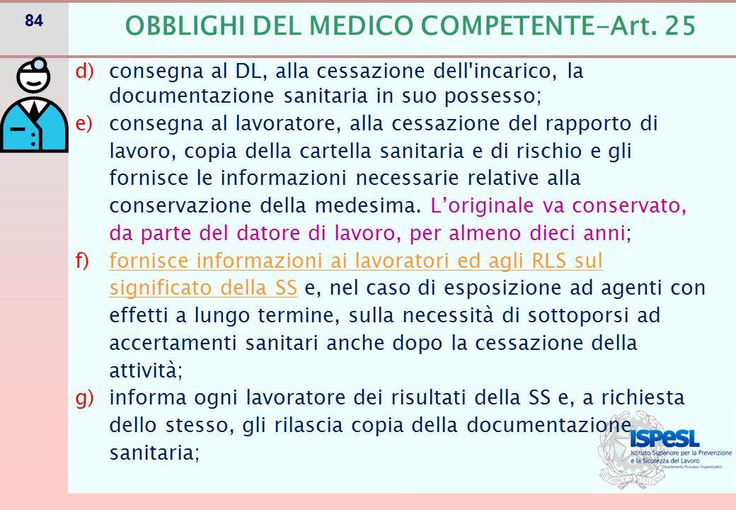 OBBLIGHI DEL MEDICO COMPETENTE-Art. 25