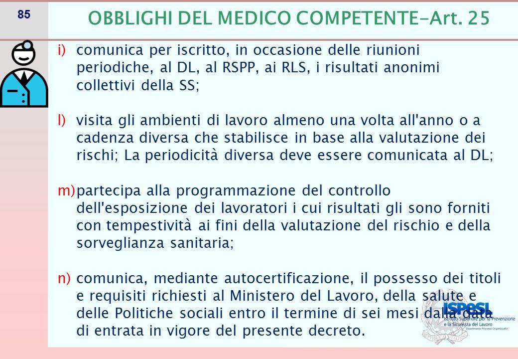 ULTERIORI COMPITI MEDICO COMPETENTE