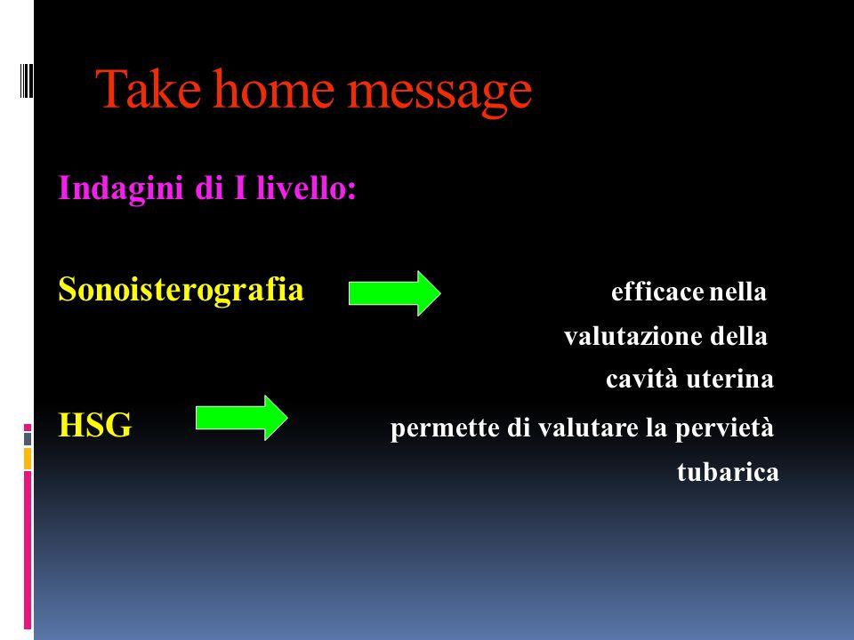Take home message Indagini di I livello:
