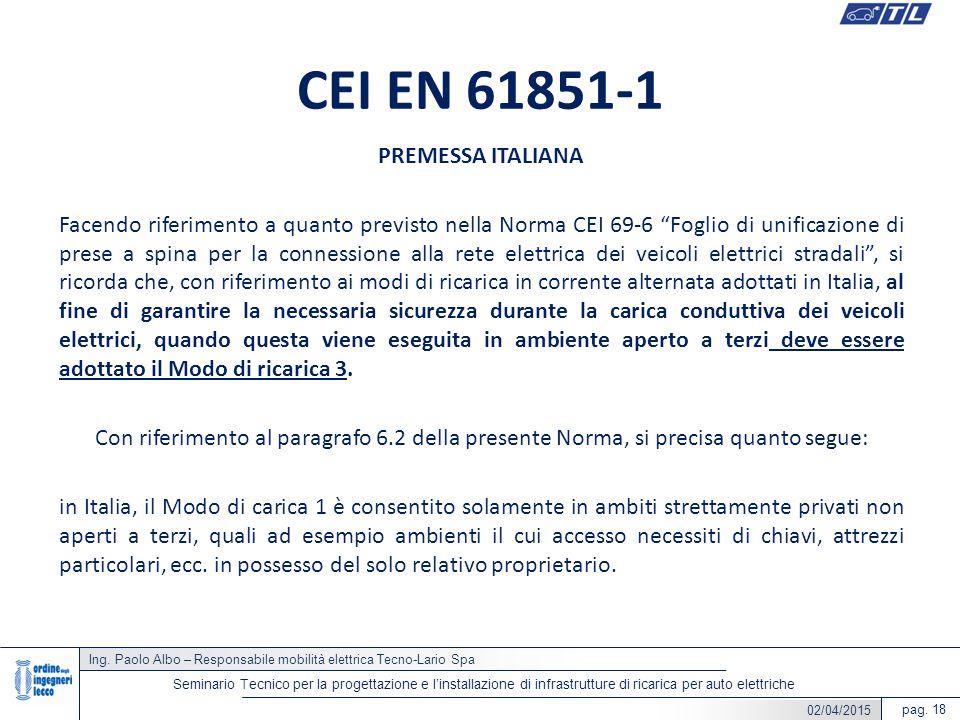 CEI EN 61851-1 PREMESSA ITALIANA