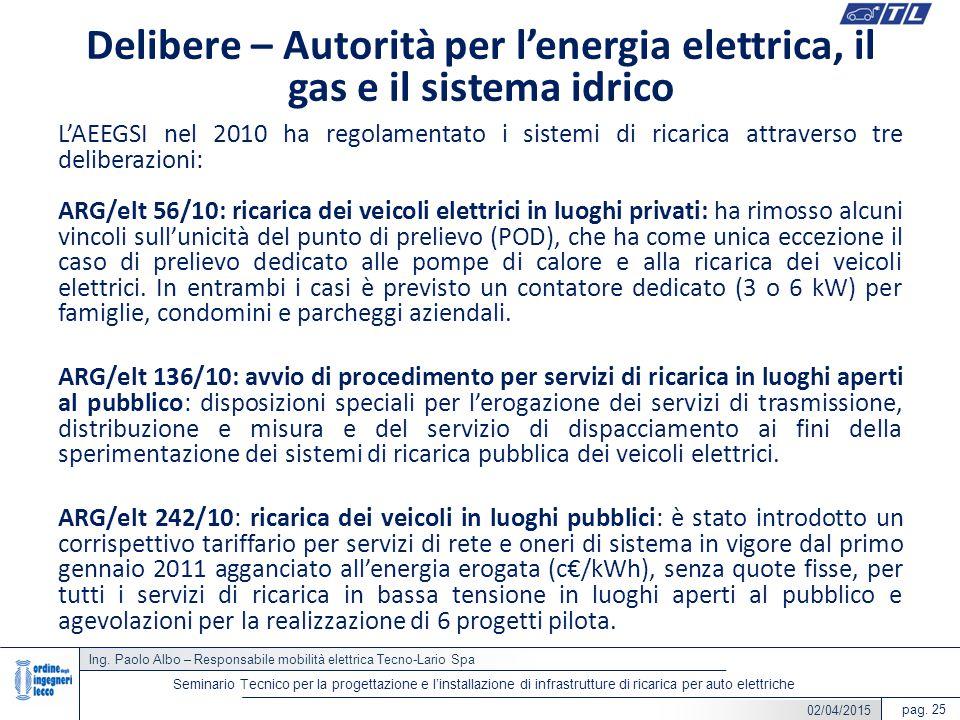 Delibere – Autorità per l'energia elettrica, il gas e il sistema idrico