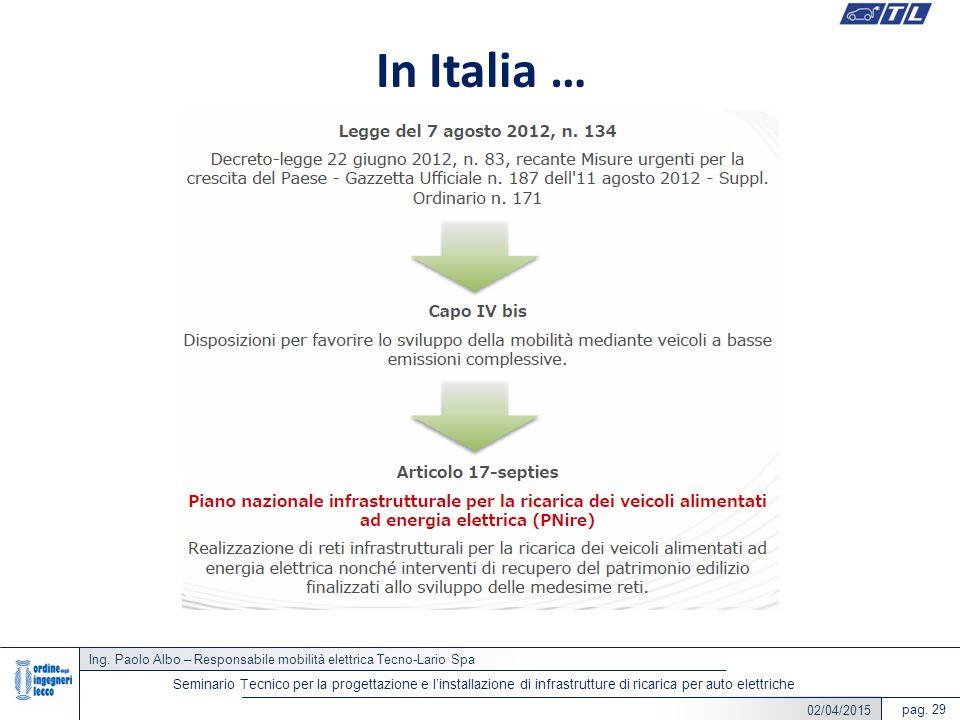 In Italia … Ing. Paolo Albo – Responsabile mobilità elettrica Tecno-Lario Spa.