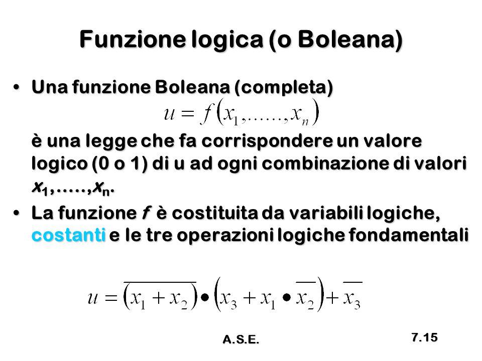 Funzione logica (o Boleana)