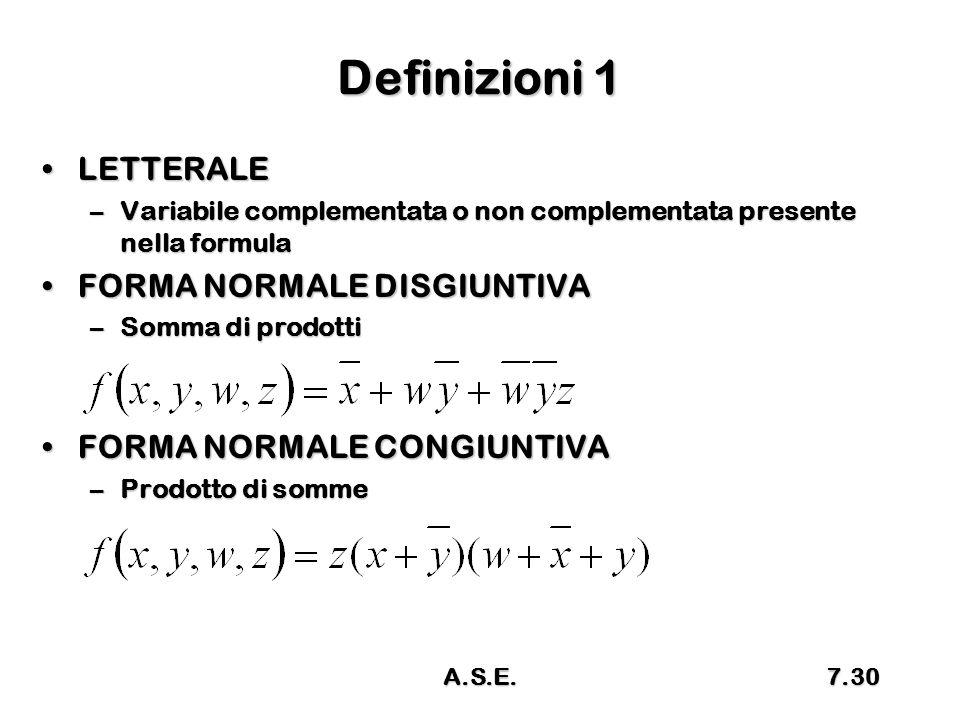 Definizioni 1 LETTERALE FORMA NORMALE DISGIUNTIVA