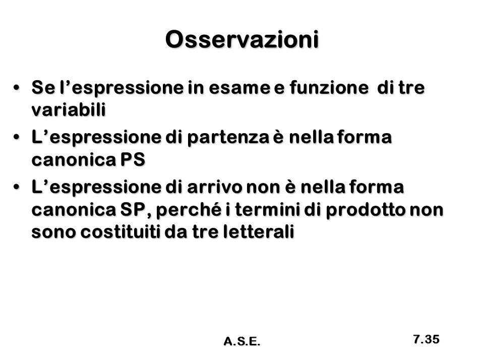 Osservazioni Se l'espressione in esame e funzione di tre variabili