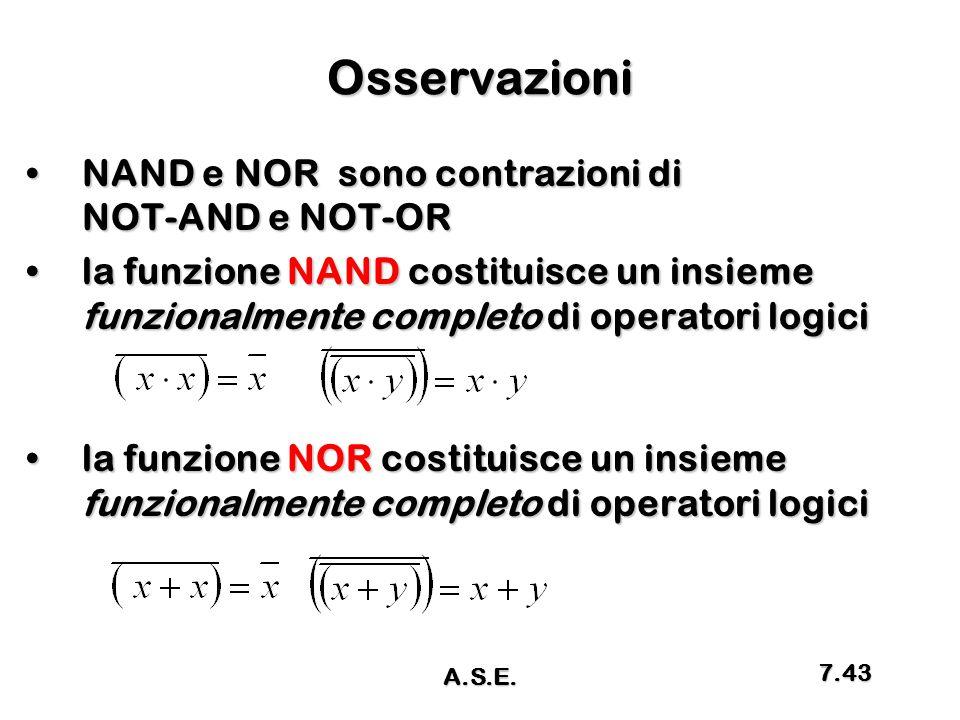 Osservazioni NAND e NOR sono contrazioni di NOT-AND e NOT-OR