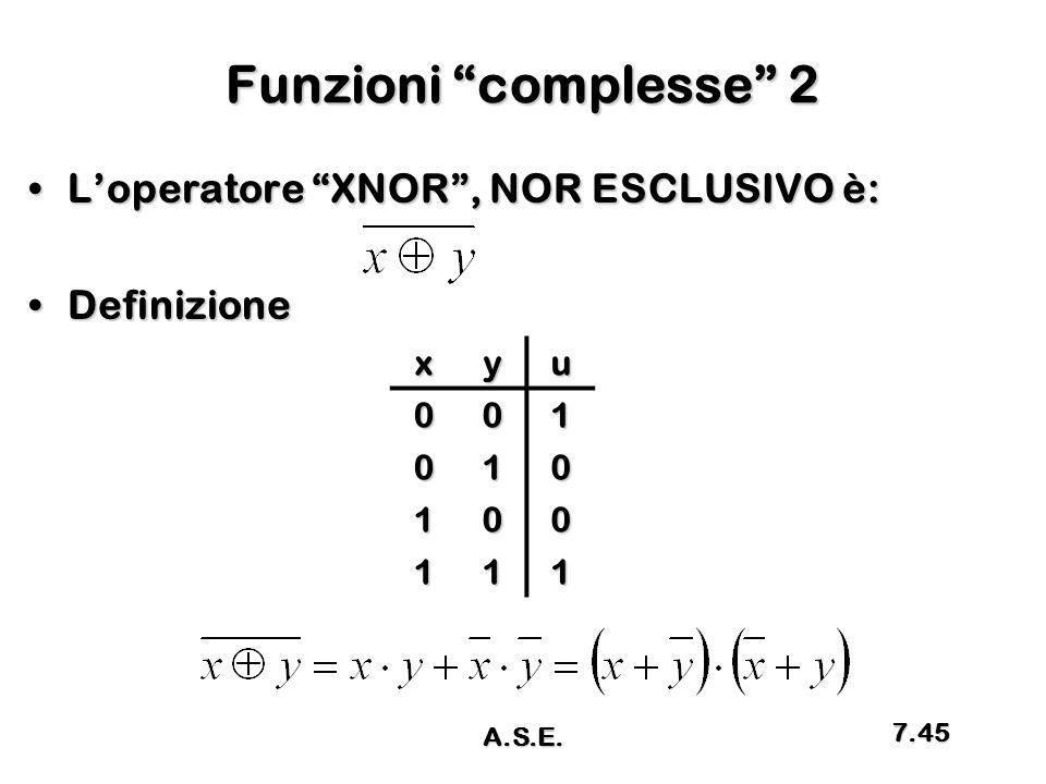Funzioni complesse 2 L'operatore XNOR , NOR ESCLUSIVO è: