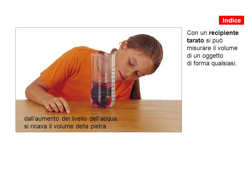 Indice Con un recipiente tarato si può misurare il volume di un oggetto di forma qualsiasi.