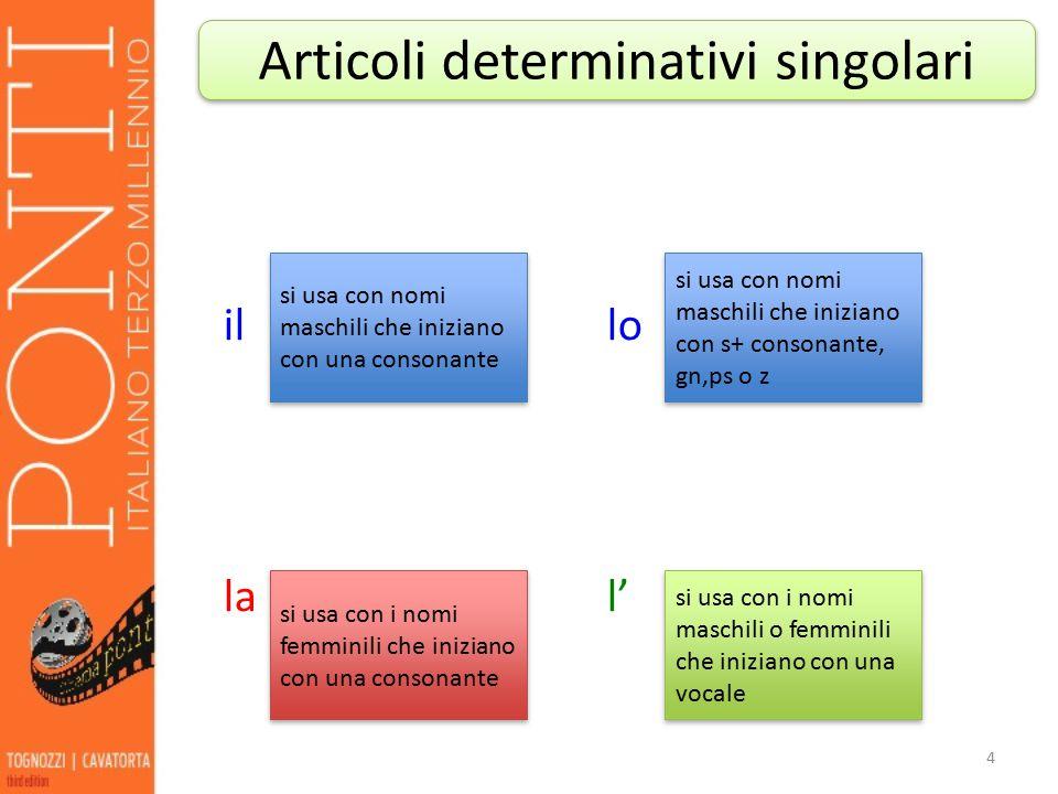 Articoli determinativi singolari