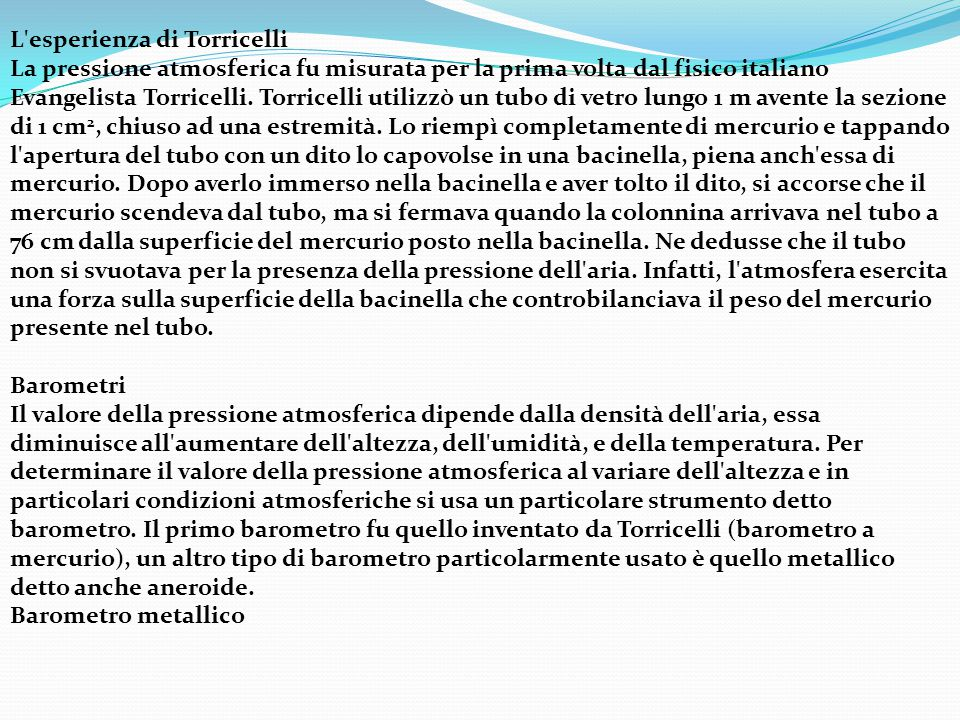 L esperienza di Torricelli