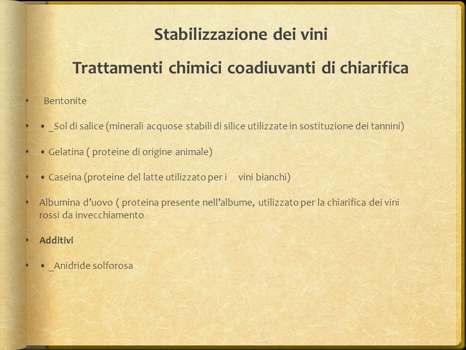 Stabilizzazione dei vini Trattamenti chimici coadiuvanti di chiarifica