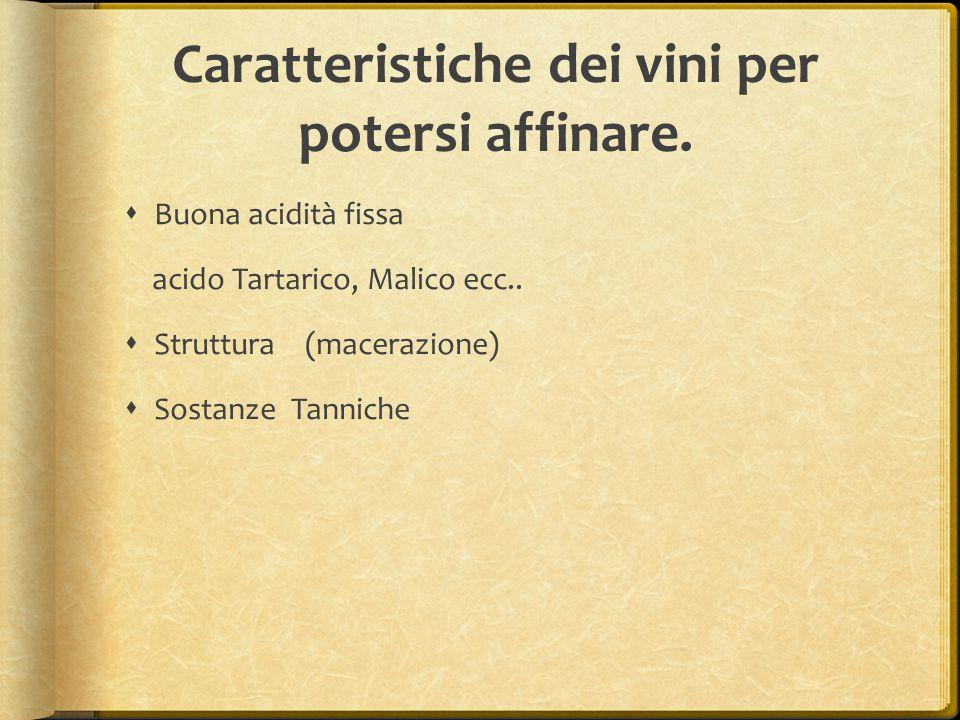 Caratteristiche dei vini per potersi affinare.