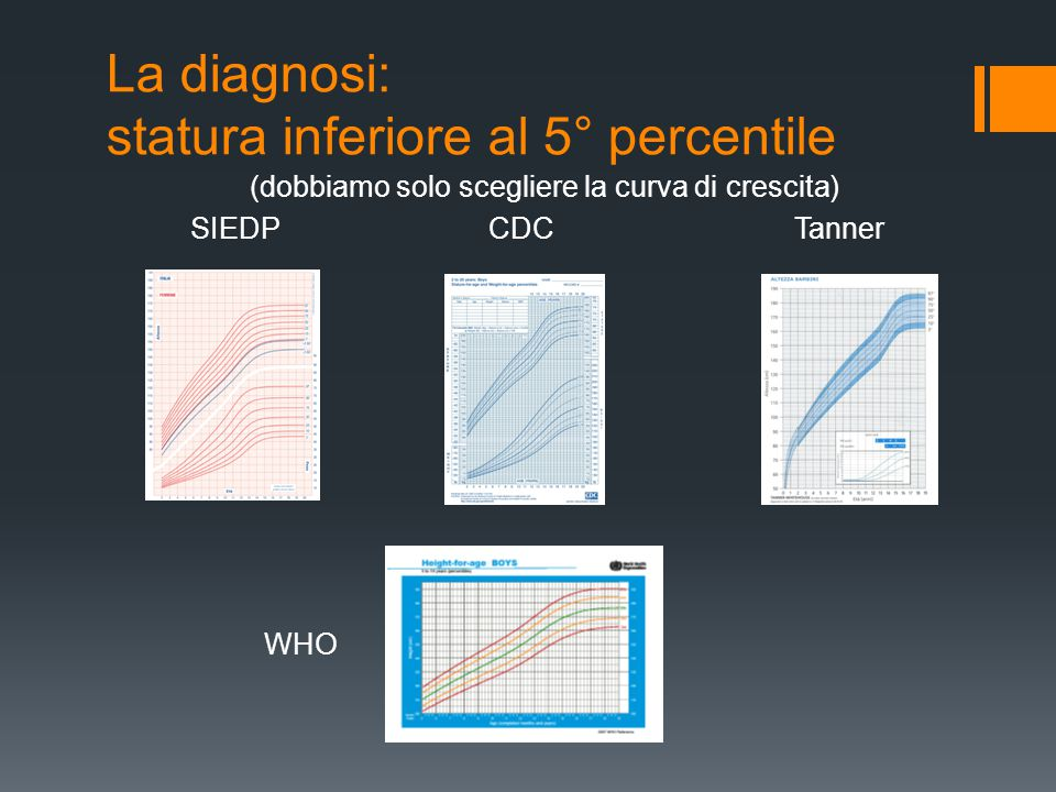 La diagnosi: statura inferiore al 5° percentile