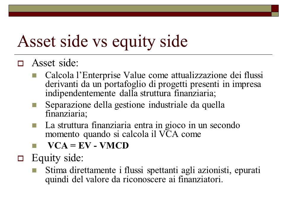 Asset side vs equity side