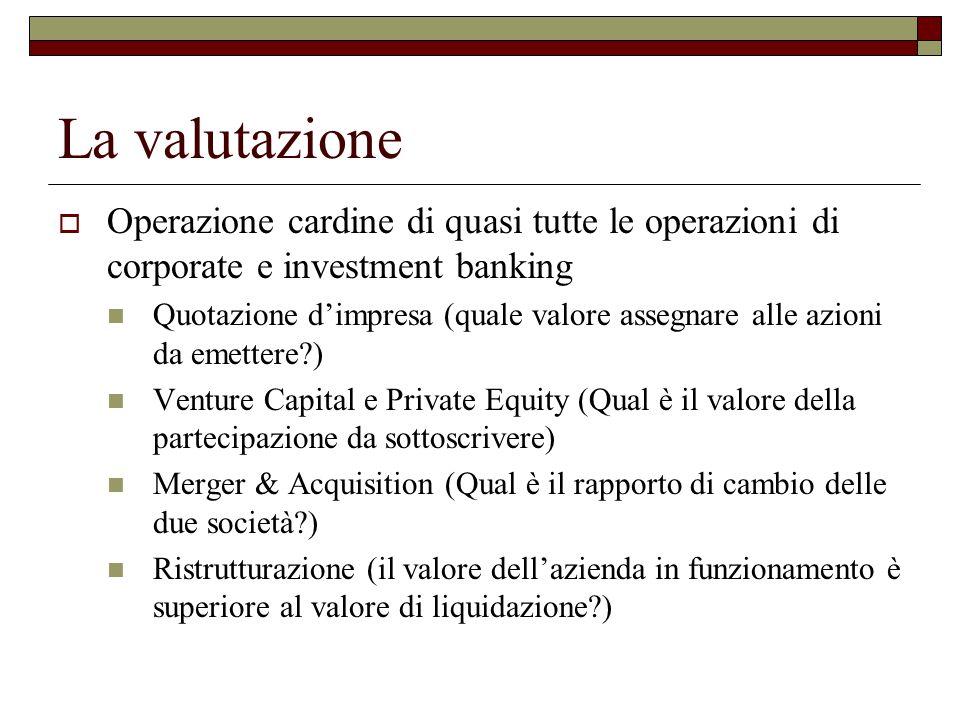 La valutazione Operazione cardine di quasi tutte le operazioni di corporate e investment banking.