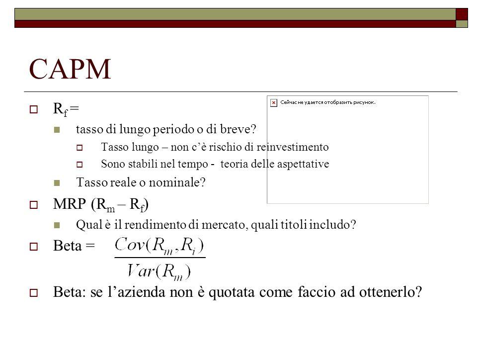 CAPM Rf = MRP (Rm – Rf) Beta =