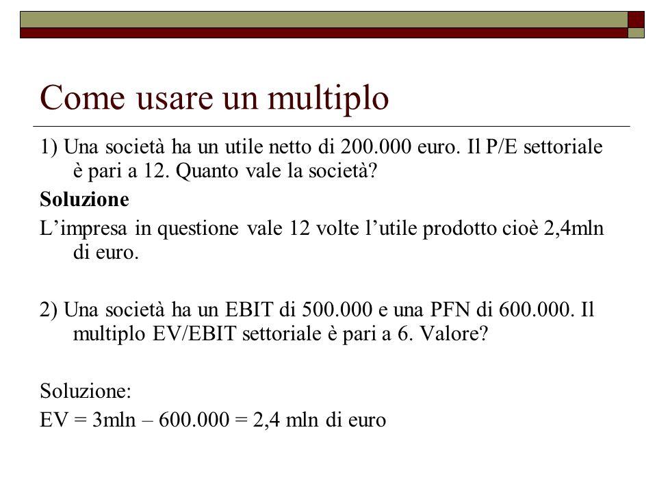 Come usare un multiplo 1) Una società ha un utile netto di 200.000 euro. Il P/E settoriale è pari a 12. Quanto vale la società