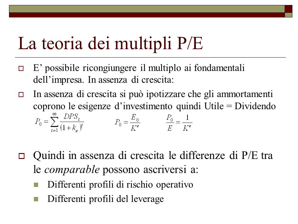 La teoria dei multipli P/E