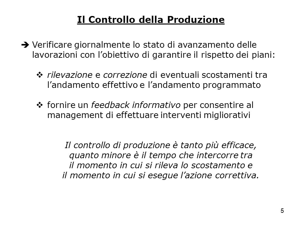 Il Controllo della Produzione