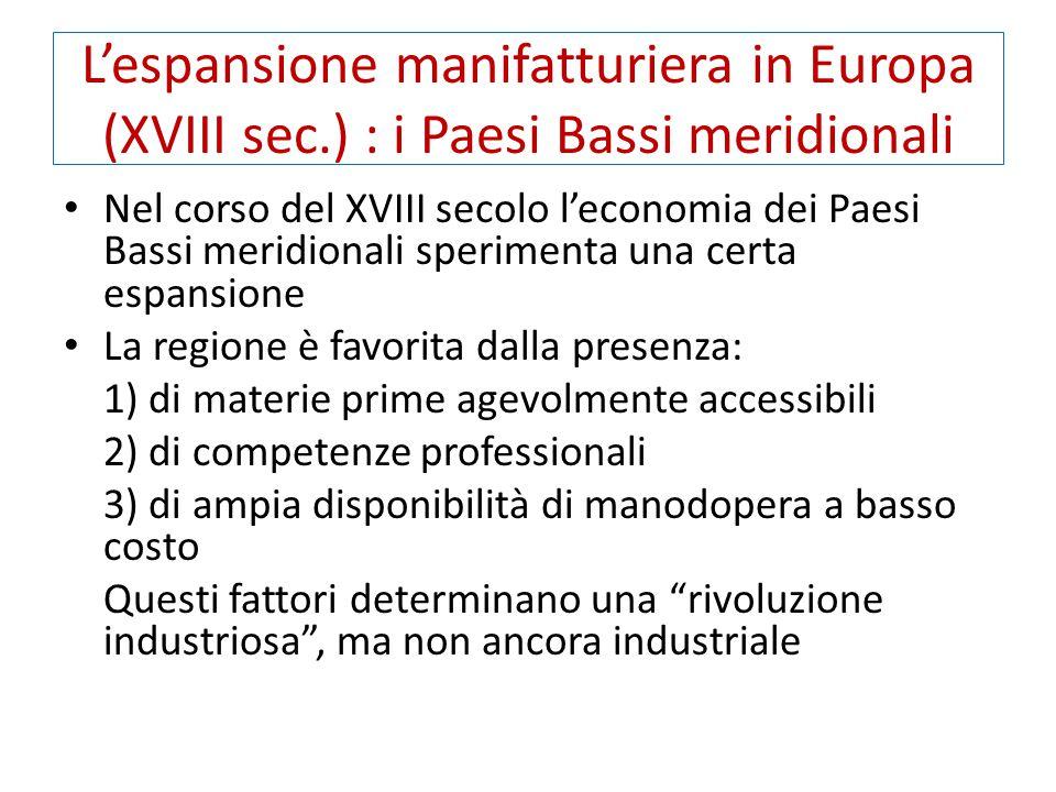 L'espansione manifatturiera in Europa (XVIII sec