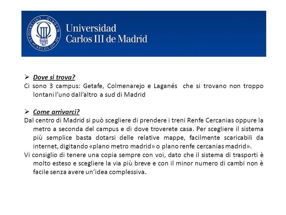 Dove si trova Ci sono 3 campus: Getafe, Colmenarejo e Laganés che si trovano non troppo lontani l'uno dall'altro a sud di Madrid.